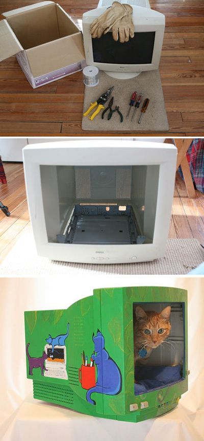Monitors are probably the largest part of a computer and can be made easily into a cat bed.  Use your creativity to decorate the new home for your furry friend.