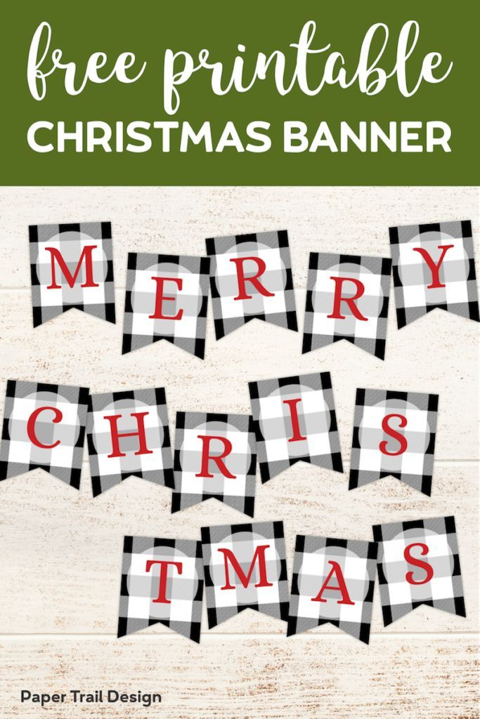 Plaid Christmas Banner Letters Printable Paper Trail Design Christmas Banners Merry Christmas Banner Free Christmas Printables