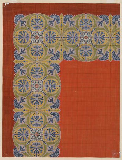 dekverf op papier; ontwerp voor een handgeknoopt Deventer tapijt; rood fond waarop brede rand van zich herhalend vierkant- motief, waarbinnen cirkelvormen gevuld met gestyleerde bloemen in blauw, g...