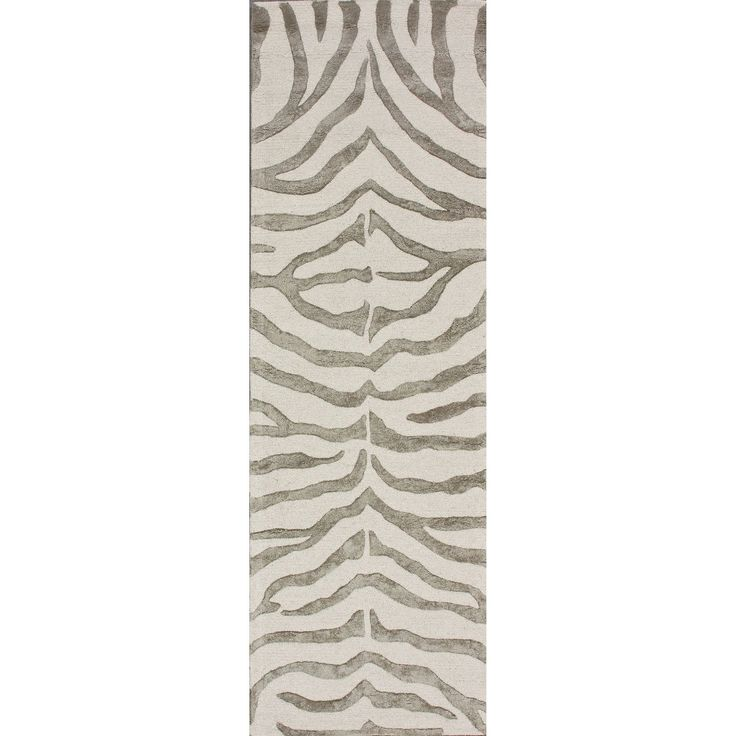 nuLOOM Handmade Zebra Faux Silk/ Wool Runner Rug (2'6 x 12') (Grey), Size 2'6 x 12' (Synthetic, Animal)