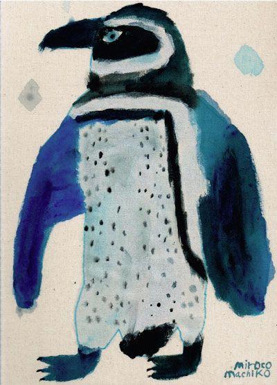 Blue - penguin - painting - miroco machiko