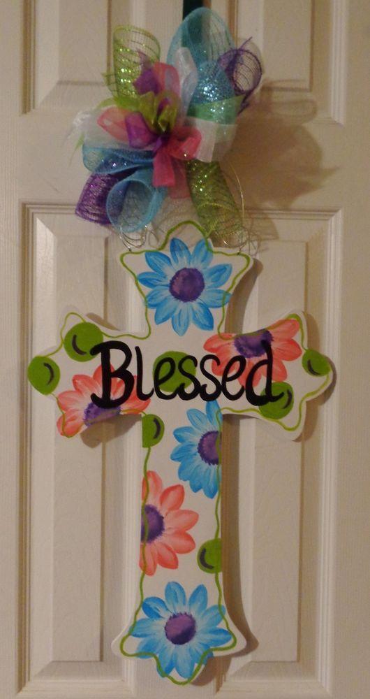 Handpainted Wood Door Hanger Wreath Cross #Handmade