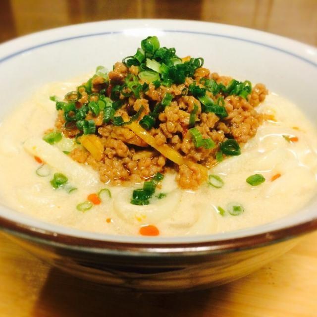 中華麺をうどんに変えて作ってみました! 激うまです〜♡ 肉と味噌と豆乳って相性いいですね! - 17件のもぐもぐ - 豆乳担々うどん by ogurami