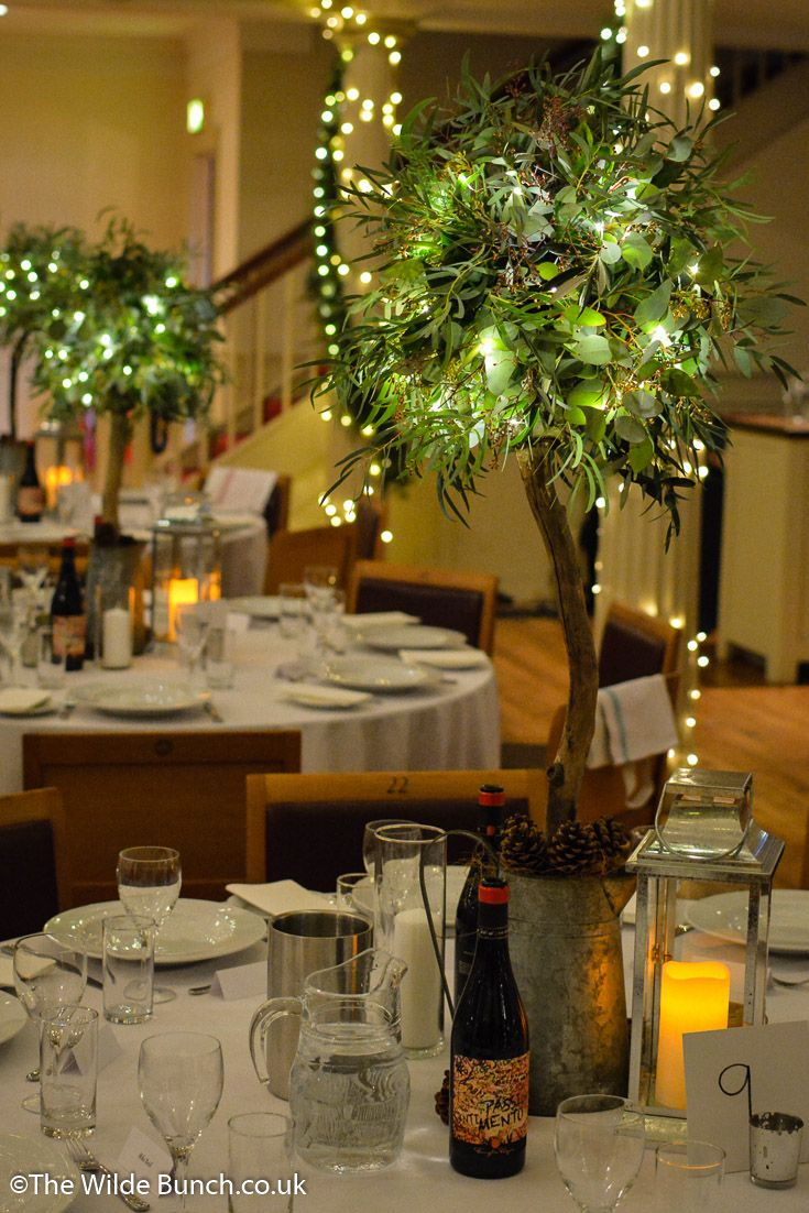 Rustic designer trees as wedding table centres. These are the smaller version of The Wilde Bunch trees and can be made to any brides specification...realistic...or a 'mad' floral extravaganza. We illuminated these for extra 'wow' at St Georges Hall, Bristol