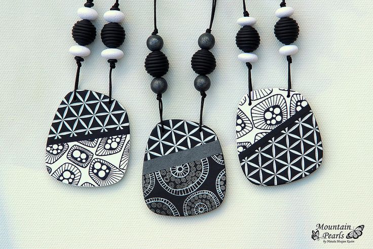 Polymer clay necklaces, silk screen technique | www.facebook… | Flickr