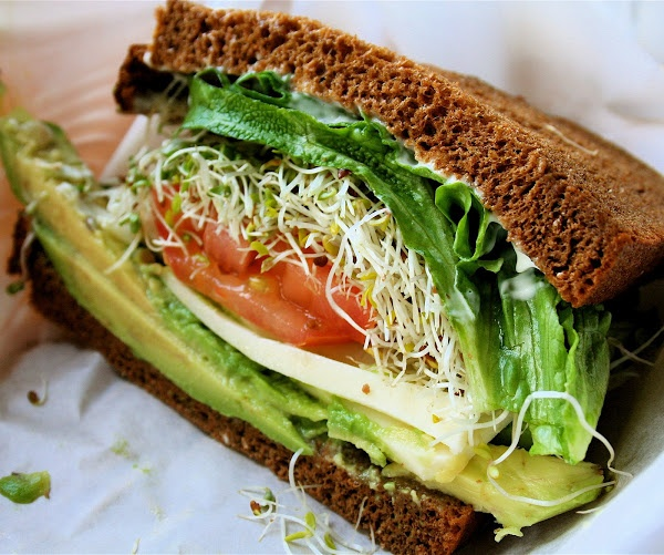 avocado, jack cheese, tomato, sprouts & lettuce on squaw bread.