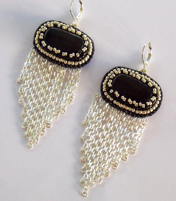 Chained Earrings, Gemstone Earrings, Bead embroidered, Fashionable Jewelry, Classic Colors, Black Jasper Earrings,Black, silver by vicus. Explore more products on http://vicus.etsy.com