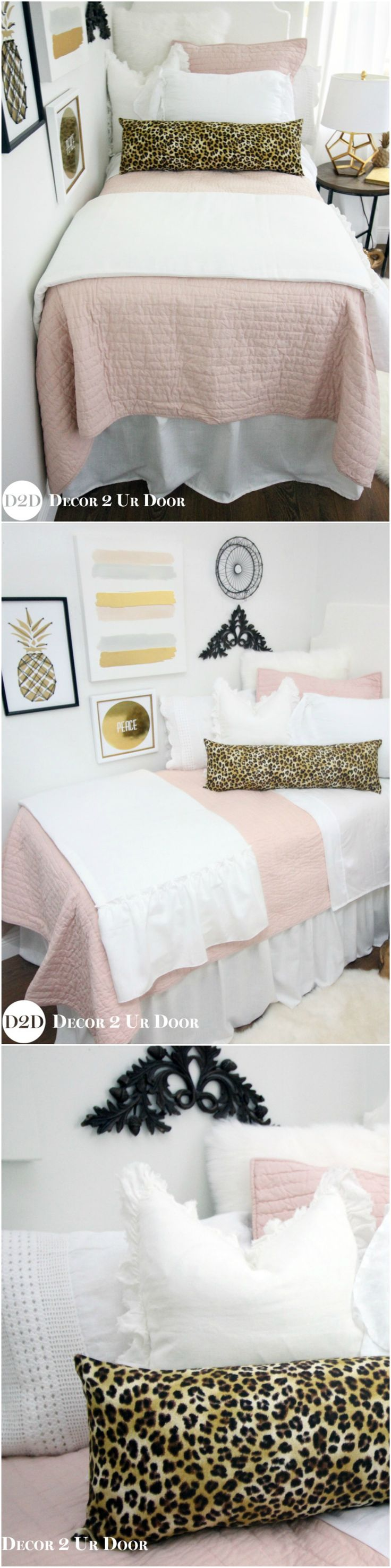 Cheetah print and blush dorm room. Don't cheet-ah yourself out of this stylish and sophisticated blush pink and cheetah print dorm bedding. We swoon over our blush quilt paired with textured furs, frilly linens, and cheetah print accents. This set screams timeless, trendy, and totally gorgeous dorm room bedding. Your friends will definitely be jealous of your sassy new digs!