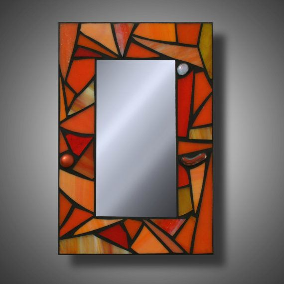 """Funky Orange Mosaic Mirror, Stained Glass Accent Mirror, 8"""" x 12"""""""