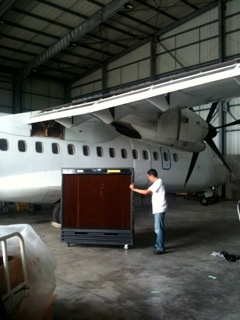 Port-A-Cool unit at work in an airline hangar overseas. Thanks to our distributor for photo contribution!
