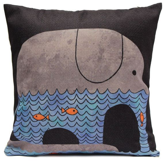 Children cushion cover water elephant by EclecticElementsDeco