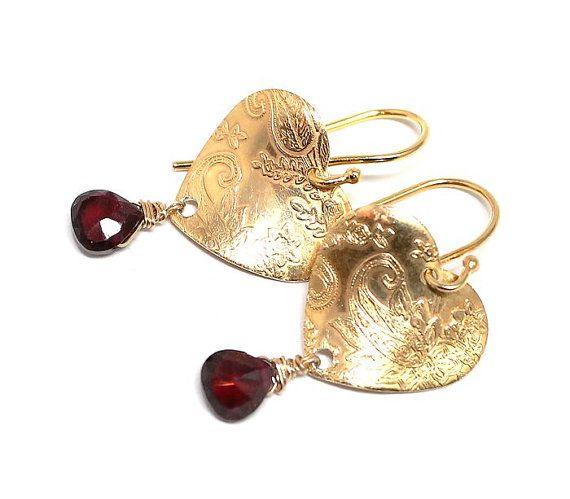 Gold Vermeil earringsgarnet heart shaped boho elegant
