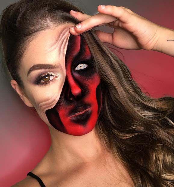 demon pulled up skin halloween makeup tutorial youtube - 578×620