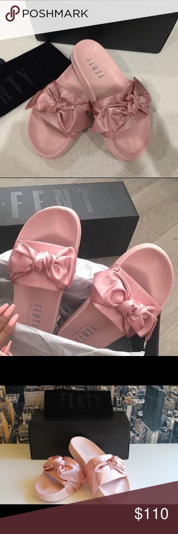Rihanna Puma Fenty bow slides Steal the show like Bad Gal RiRi with these cool + covetable satin slide sandals designed by Rihanna for her Fenty label by Puma. Cushy, molded pool slides elevated to a whole new level with a satin banded strap across arch, accented with a knotted bow for a modern take on femme that we can't get enough of. Finished with a cushioned rubber sole. Brand new in box Puma Shoes Slippers