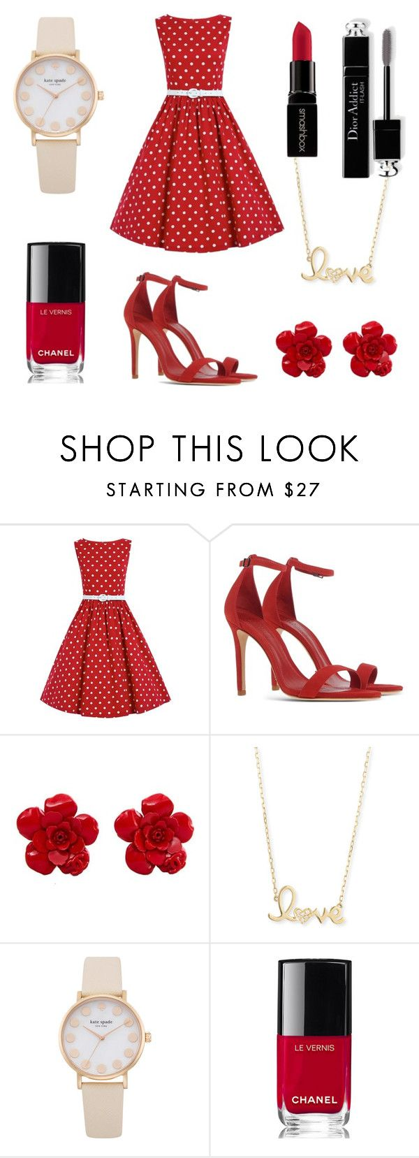 """All red everything - back to the 80's"" by shop-styleloft on Polyvore featuring Schutz, Chanel, Sydney Evan, Christian Dior and Smashbox"