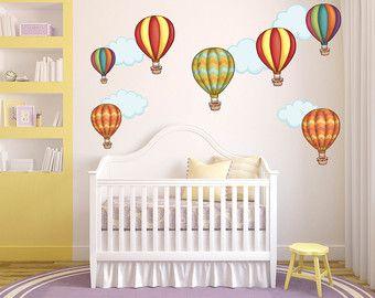 Caliente aire globo pared Art - arte de la pared de cuarto de niños - Kids Room Wall Decals - chicas salón de tatuajes de pared - tatuajes de pared de cuarto de niños