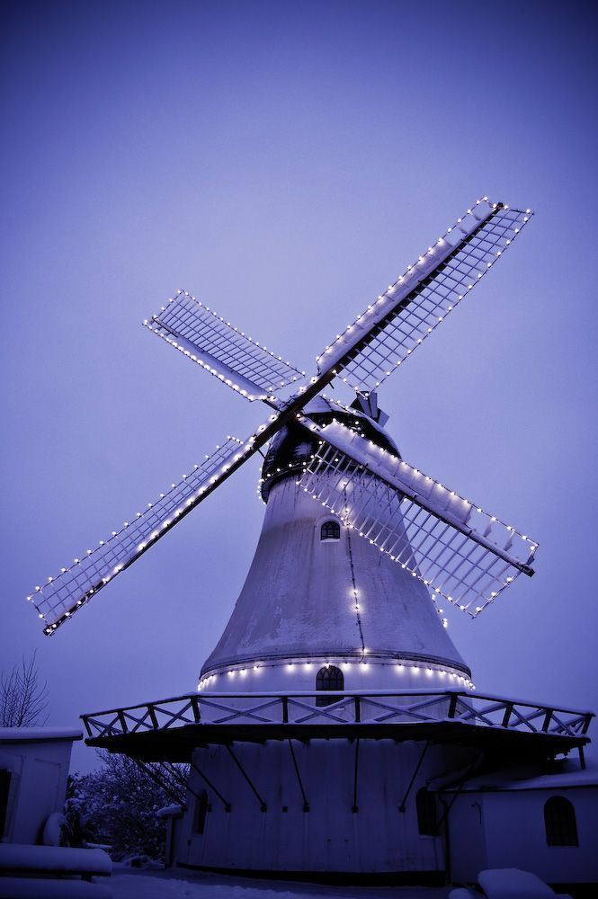 The old mill at Soendermarken in Vejle. So pretty to see it above the hills at Christmas with the lights