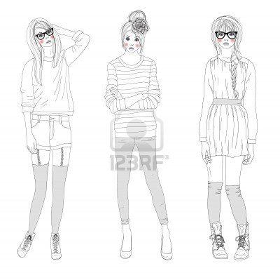 Jonge mooie meisjes mode-illustratie. Vector illustratie. Achtergrond met tiener vrouwen in modieuze kleding poseren. Mode-illustratie. Stoc...