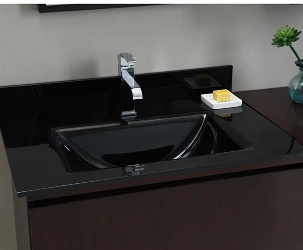 Xylem Black Glass Vanity Top With Integrated Rectangular Bowl GSTXXXBK.  H1Xylem Black Glass Vanity Top
