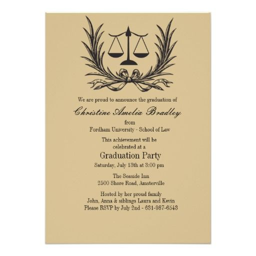justice wreath law school graduation invitation - Law School Graduation Invitations