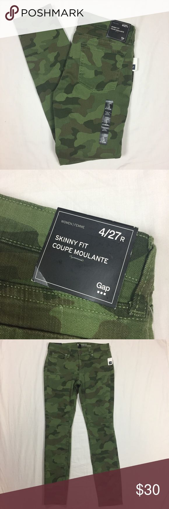 """GAP green camouflage skinny jeans size 4 Brand new with tags. Stretchy cotton, elastane blend fabric. Classic five pocket design. 15"""" across waistband. 29"""" inseam. GAP Jeans Skinny"""