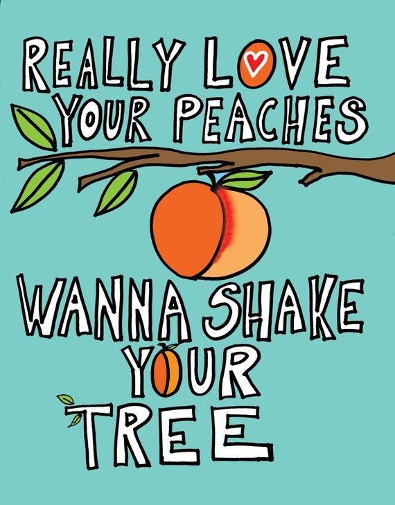 """•.¸¸.♫´¯`•.¸¸.☆ """"Really love your peaches.  Wanna shake your tree.""""  【ツ】  XOXOXO"""
