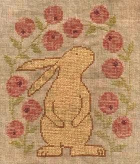 Primitive Cross Stitch Pattern Curious Bunny by FiddlestixDesign, $10.00