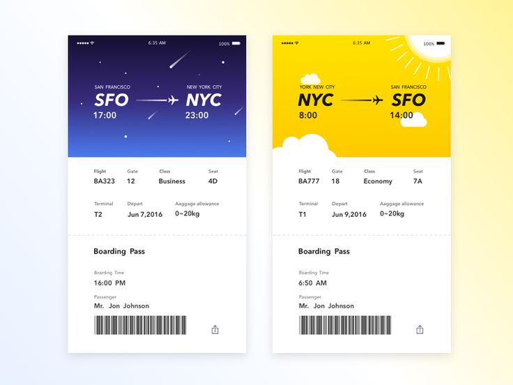 Hi ! This is my new work . A Flight Card. It has day and night two states , depends on your Flight time. Hope you like it : )