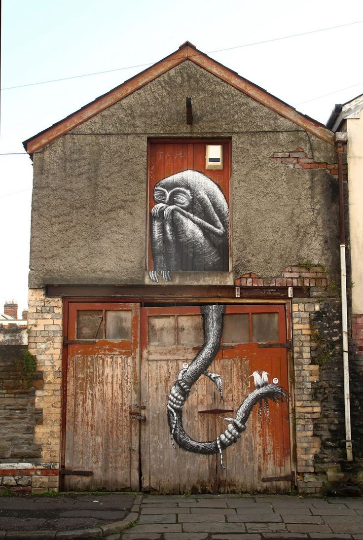 138 best roa street art images on pinterest street artists phlegm new street piece for empty walls festival cardiff wales