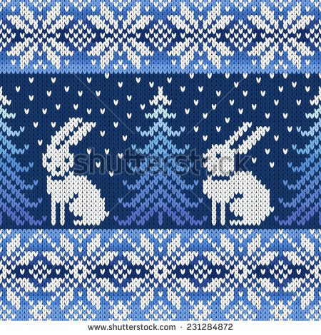 seamless knitted pattern with snowflakes and rabbits