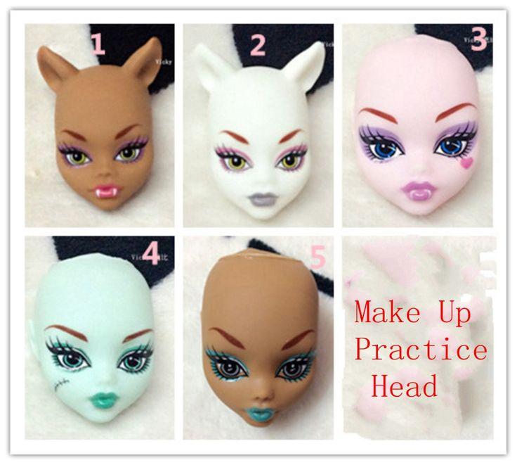 Weichem Kunststoff Praxis Make-Up Puppe Köpfe Für Monster High Puppe BJD Puppe der Üben Make-Up Monster Kopf Ohne Haar