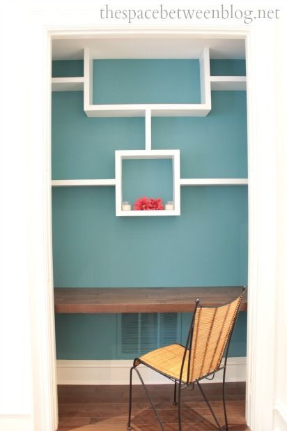 Key West house tour - great use of guest room closet, could work as an office or a closet with this shelving design