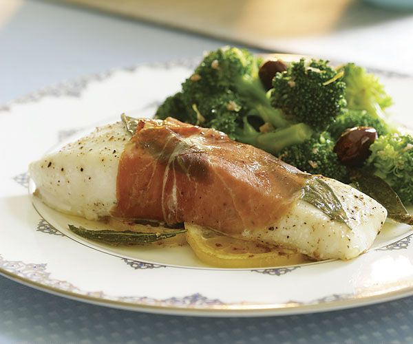 Prosciutto-Wrapped Halibut with Sage Butter Sauce Recipe