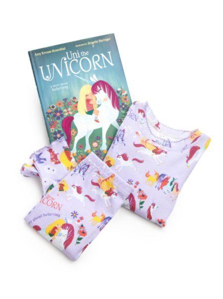 "Books To Bed - Toddler's & Little Girl's Three-Piece ""Uni The Unicorn"" Pajamas & Book Set"