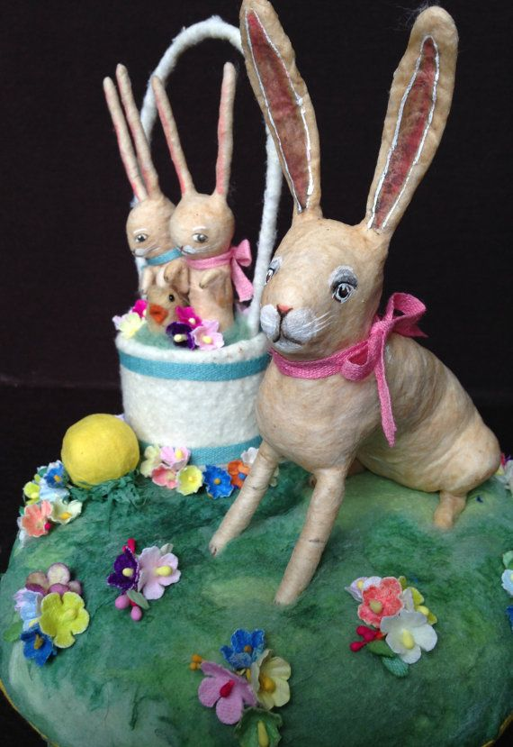 WINTER SALE Spun Cotton Rabbit Centerpiece by Maria Paula
