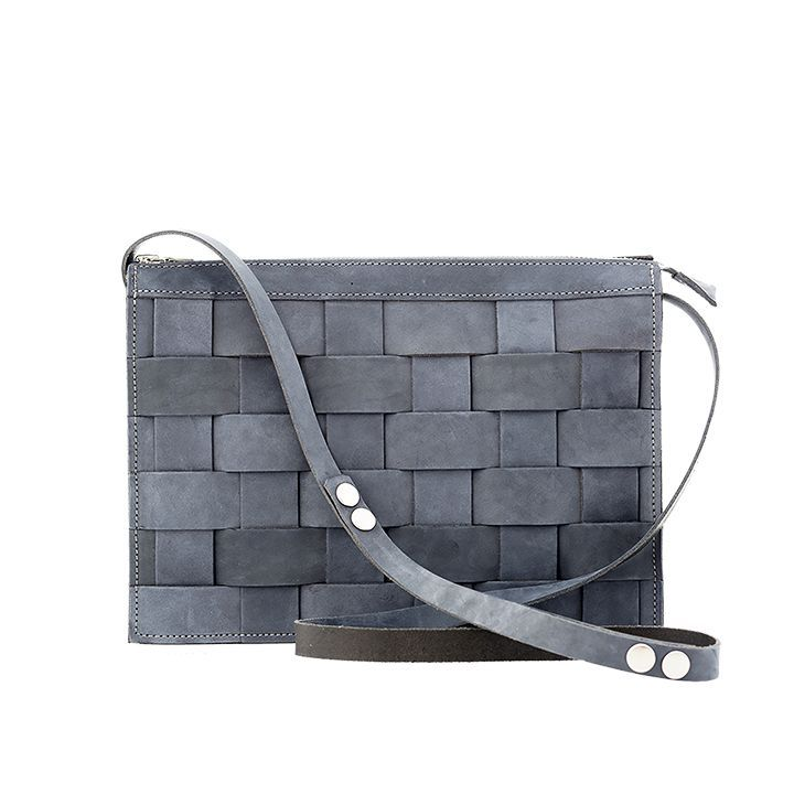 Small Leather Shoulder Bag Oily Navy via eduards accessories. Click on the image to see more!