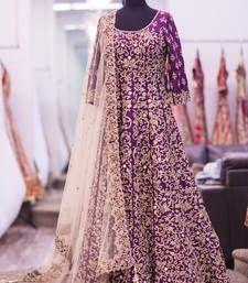 Buy purple art silk embroidered semi stitiched salwar with dupatta party-wear-salwar-kameez online