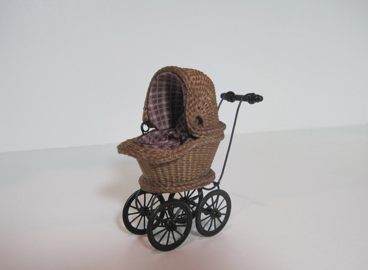 """Miniature Wicker Childs Buggy for Dollhouses 1/2"""". $145.00, via Etsy."""