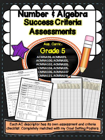This packet has all the assessments you will need to assess the success criteria matched to each descriptor for grade 5 Australian Curriculum Maths – Number and Algebra.  Included are your mark book checklists to match each test.The packet has been made to accompany my learning goals posters. See link below. All content descriptors have been addressed.