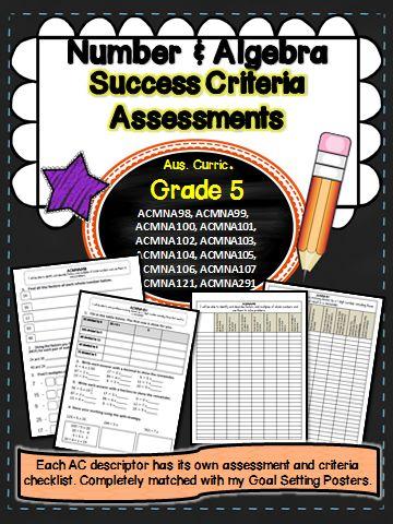 Number and algebra Australian curriculum assessments for each descriptor  Grade 5
