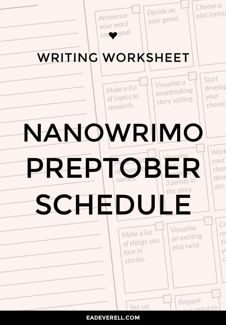 Preptober Schedule Novel Writing