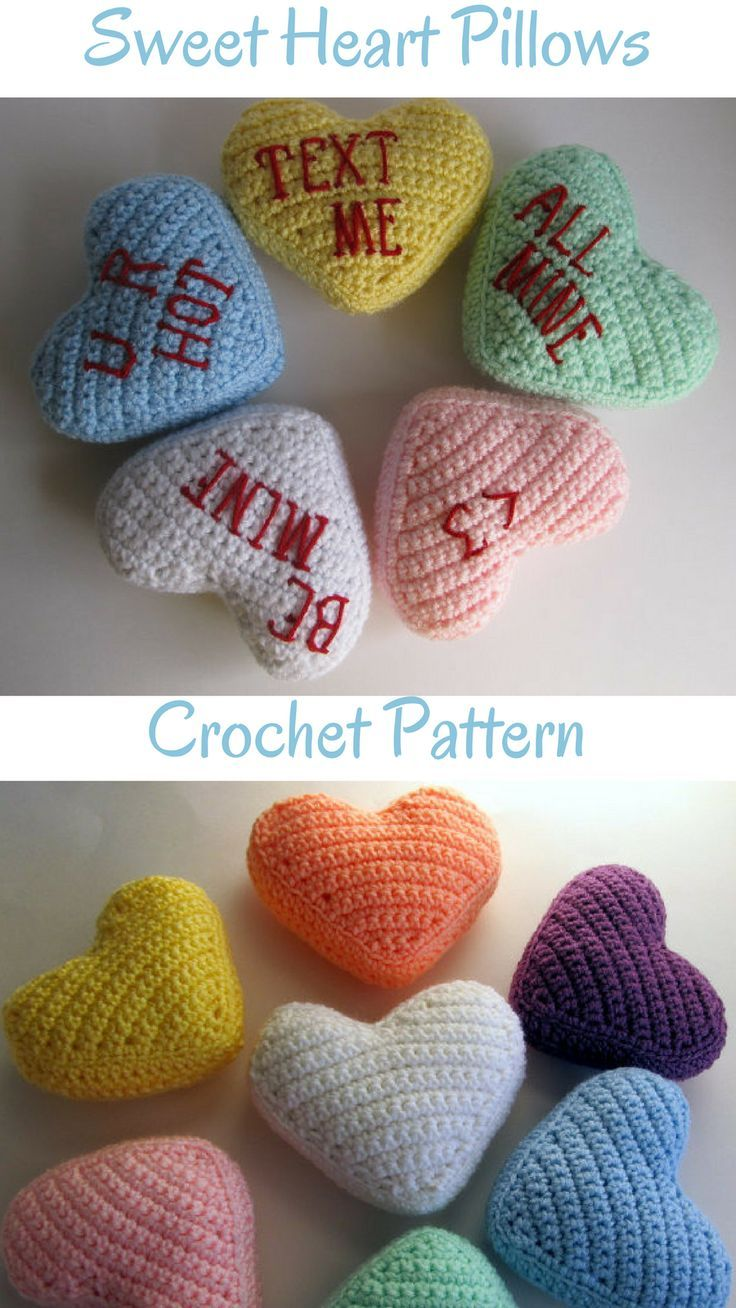 Crochet Pattern Conversation Sweetheart Pillow Valentines Day