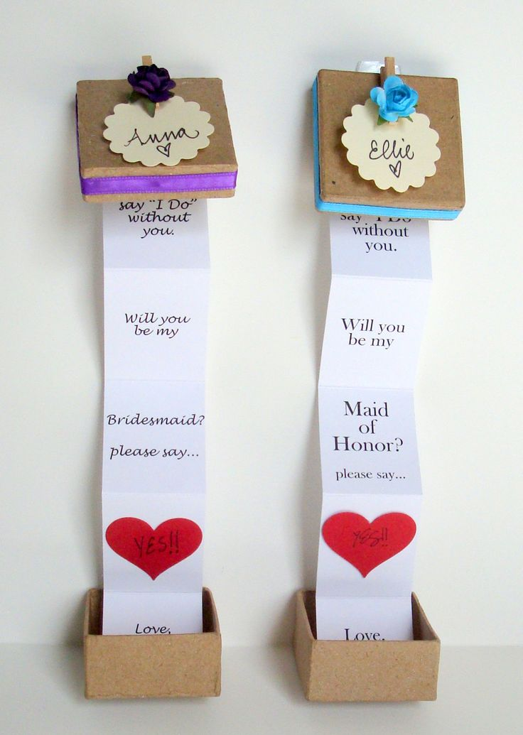 Hidden pop up message- Will you be my Maid of Honor? proposal box.  In your colors and ready for gift giving!