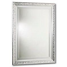 Razzle Dazzle Mirror, Double Frame, Lacquered Silver 24 Inch X 36 Inch