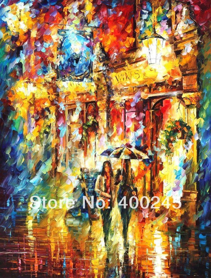 Moderní obraz Krajina, olejomalba umění, nejlepší přátelé v centru Leonid Afremov reprodukce, vysoká kvalita, ručně malované