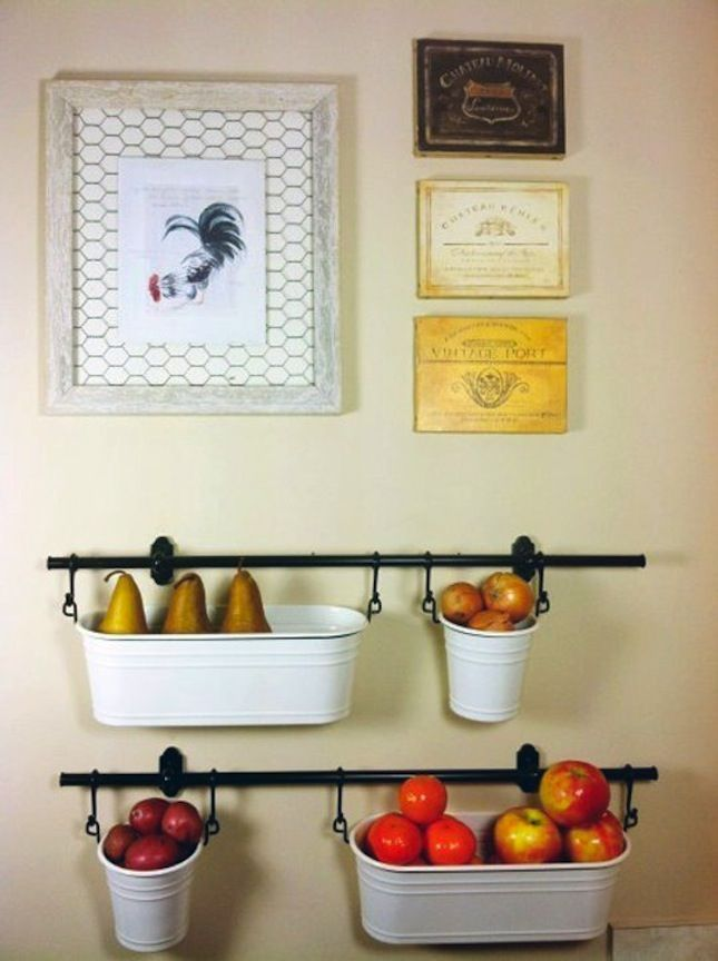Use the IKEA Fintorp to make hanging storage. It's a great solution for small kitchens with limited counter space.