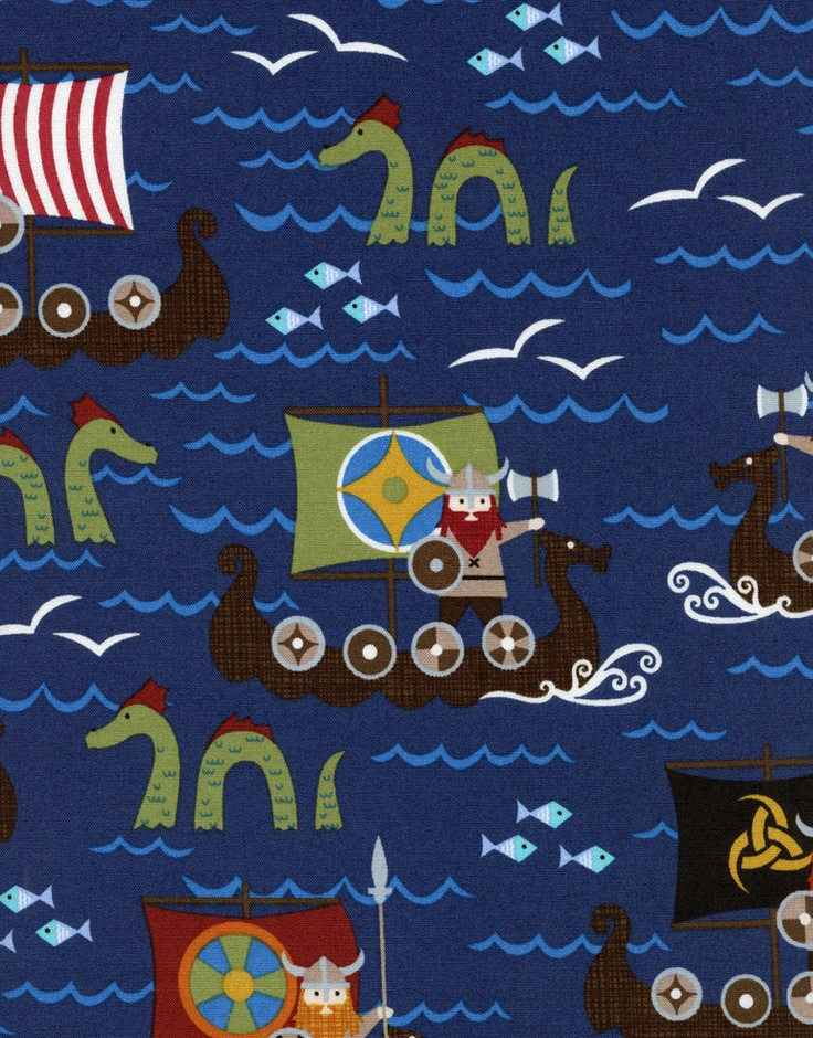VIKINGS on BOATS Navy Blue Novelty Kids ORGANIC Cotton Viking Pirate Quilt Fabric - by the Yard. $9.50, via Etsy.