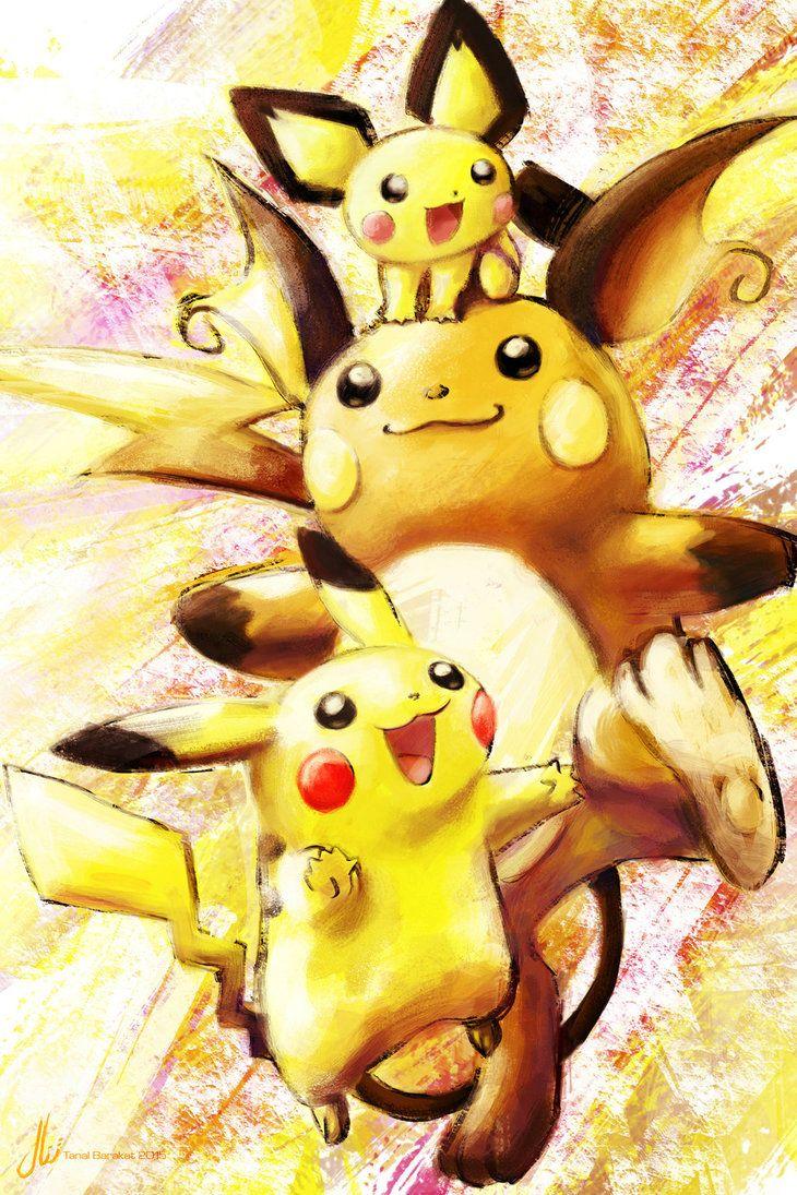 Pichu, Pikachu and Raichu by xoaba                                                                                                                                                                                 More