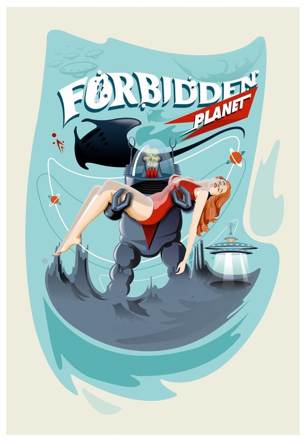 """Forbidden Planet"" by Pietro Carretta, via Behance"