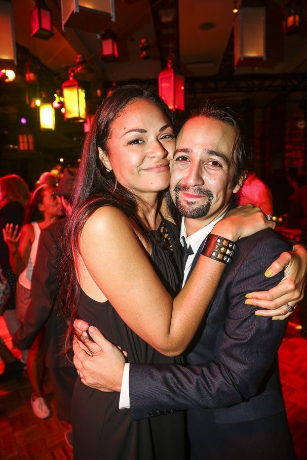 Photo 14 of 80 | Lin-Manuel Miranda gives Javier Munoz a smooch. | Photos! Party Like a Founding Father with Lin-Manuel & the Cast of Hamilton on Opening Night | Broadway.com